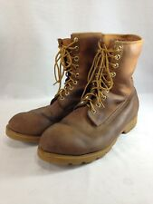 """Timberland 10081 Work Boots Mens 13 M Brown Leather 9 Eyelet 10"""" Tall"""
