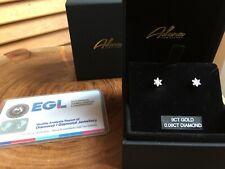 Solid 9K Carat Yellow Gold Stud Earrings Natural Diamonds TCW 0.08 By Adara