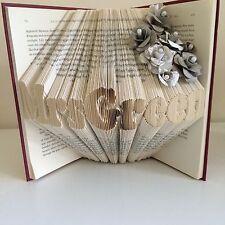 Nombre del profesor de arte libro plegado personalizada y selección de flores de papel