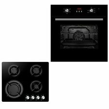 Black Cookology 60cm Electric Built-in Single Fan Oven & Gas-Glass-on