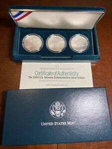 1994 Veterans Uncirculated Silver Dollar 3 Commemorative Coin Set US Mint (D2)