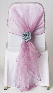 100 Dusky Lavender Organza Chair Cover Hood Wrap Sash Bow Tie