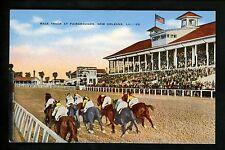 Horse Racing postcard Race Track New Orleans Fair Grounds, Louisiana LA linen