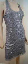 MAX STUDIO Grey Sequin Embellished Sleeveless Racer Rear Summer Dress Sz: XL
