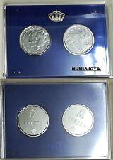 Año 1987. 2 Monedas de 500 pesetas ACERO 25 Aniversario Bodas. Diámetro 28 mm.