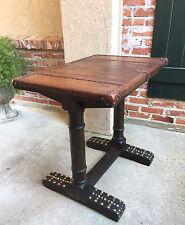 Antique English Dark Oak End Sofa Pub TABLE Desk w LEATHER Brass Tacks Trestle a