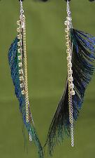 "Big exotic peacock feather dangle earrings 5"" long rhinestone chain angel wings"