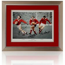 Large WALES Rugby Legends Triple Signed Montage Edwards, JPR, Bennett, COA AFTAL
