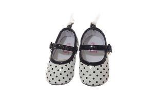 Baby Girls Infant Black White Polka Dot Christmas Flat Dress Shoes 1 2 3 NEW