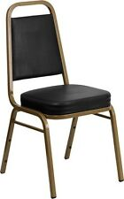 Trapezoidal Back Stacking Banquet Chair in Black Vinyl with Gold Frame