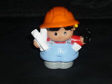 Fisher Price Little People Construction Black Hair Boy Man Papers Radio New