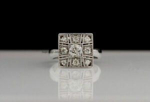 2.30Ct White Round Moissanite 9 Stone Engagement Ring In Solid 14k White Gold