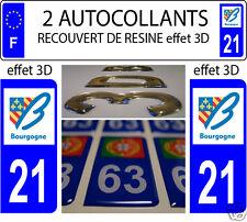 2 STICKERS RECOUVERT DE RESINE PLAQUE IMMATRICULATION DEPARTEMENT COTE D OR 21