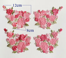 Four pieces Pretty Pink Flowers Sewing Applique