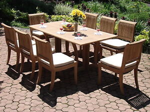 Giva Grade-A Teak 9 Pc Dining 69 Console Rectangle Table Arm Chair Set Outdoor