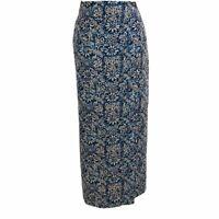 Liz Claiborne Womens Wrap Skirt Blue Floral Elastic Waist Maxi Linen Blend M