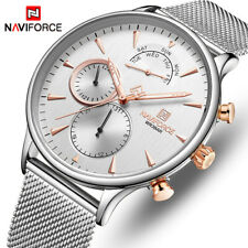 NAVIFORCE Mens Watch Fashion Casual Quartz Sport Date Slim Mesh Steel Wristwatch