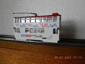 "Motorised Hong Kong 009 tram. ""IDD 007"" Smooth, Quiet.  Kato 11-110 chassis"