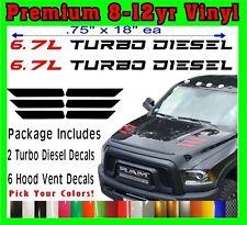 2010-2018 DODGE RAM 2500 & 3500 HD HOOD VENT DECALS 6.7L Turbo Diesel Package