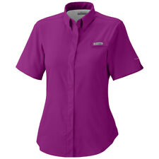 cb6b9cca26d Columbia Crystal Springs Short Sleeve Womens Shirt Purple Snap Front  Fishing UPF