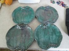 set 4 rare VINTAGE STANGL USA 3564 TERRA ROSE ART POTTERY GREEN APPLE Plate Dish
