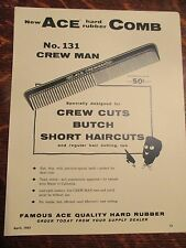 Vintage Barber 4 ACE CREWMAN #131 COMBS SIGN/AD RARE AFRO AM BARBER