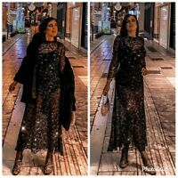 ZARA NEW LIMITED EDITION BLACK SEQUINNED LONG DRESS SIZE S