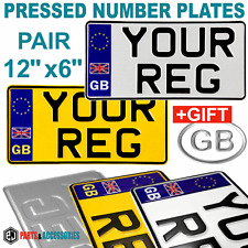 """12""""x6"""" PAIR GB BADGES REFLECTIVE AMERICAN IMPORT 4x4 PRESSED NUMBER PLATE +GIFT"""