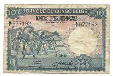 10 francs 1949 Belgian Congo Pick 14E 15.08.49 Belge Belgisch p f