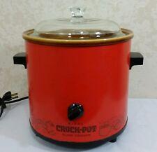 Vintage 70s RIVAL 3100/2 Red Orange 3.5 QT Crock Pot Slow Cooker w Glass Lid