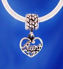 Aunt Family Dangle Love Heart Silver European Charm Bead fit for bracelet