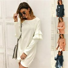 Long Sleeve Dresses Maxi Solid O Neck Evening Casual Cocktail Dress Womens Party
