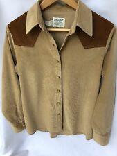 Vintage Wrangler Women Medium Brown Authentic Western Shirt For Females w/Snaps