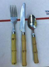 1 set of 3 Pieces Stainless Tiki Theme Flatware - Bamboo - Gibson