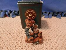 """Boyds Bears Nautical Resin - """"Bailey Bear With Suitcase"""" Holding Sailboat"""