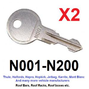 2 x Thule Roof Bar, Roof Box, Roof Rack Keys to Code (N001 to N200)