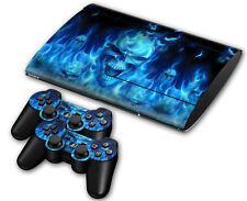Ps3 PlayStation 3 super slim skin Design foils pegatinas película protectora Blue Skull