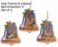 Holy Family / Nativity Ornament Set of 3, Wood, Made In Italy Bell Design