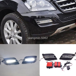 For Mercedes-Benz W164 ML350 2009-2011  White Led Daytime Running Light DRL 2X