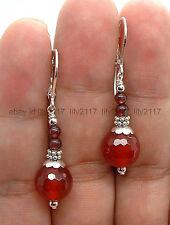 10mm Faceted Red Jade Garnet  Silver Lever backs Dangle Earrings
