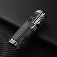 Metal Cigar Lighter Triple Jet Flame Torch Lighter Cigar Punch Cutter Windproof