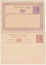 1872/80 Ceylon postal stationery PCs x2 QV 2c+8c mint unused H&G 1+5 vgc