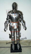 MEDIEVAL WEARABLE KNIGHT CRUSADOR FULL ARMOR SUIT ARMOR COSTUME W/SILVER FINISH.