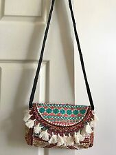 NEW Embroidered Clutch with Strap / Shoulder Bag Floral Hippy Boho Hippie