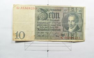 CrazieM World Bank Note - 1929 Germany 10 Reichsmark - Collection Lot m577