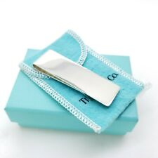 Tiffany & Co Sterling Silver Classic Plain Money Clip Holder Pouch & Box
