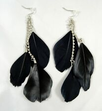 New Pair of Classic Black Authentic 3 Feather Earrings with Rhinestones #E1157