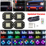 4x 30W Flush Mount Offroad Led Work Light Flood Pods RGB Halo Ring Chasing Kits