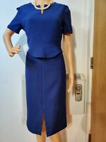 HOBBS WIGGLE FITTED DRESS BLUE SIZE UK 14 US 10 66% POLYESTER 31% VISCOSE