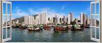 Huge 3D Panoramic City Besides Sea Port Window View Wall Stickers Mural 557